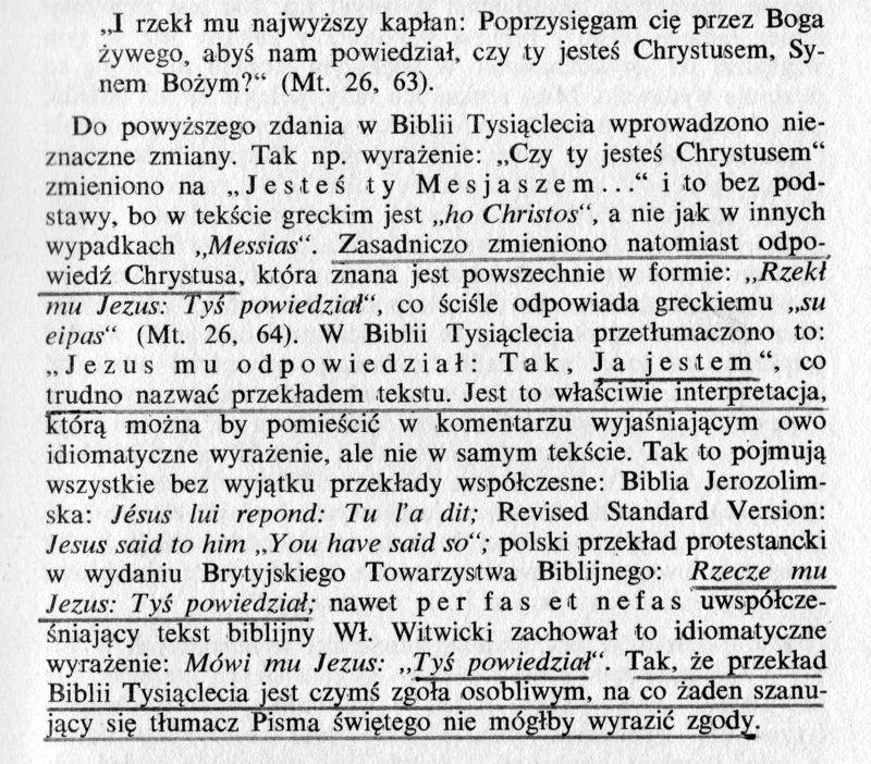 Ocena Biblii Tysiąclecia ks. Dabrowski