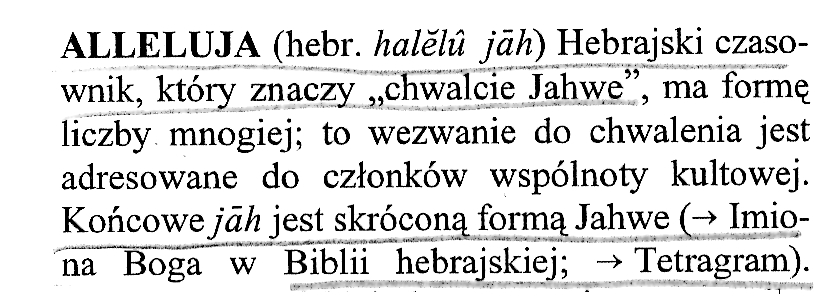 Alleluja w Słowniku Vocatio